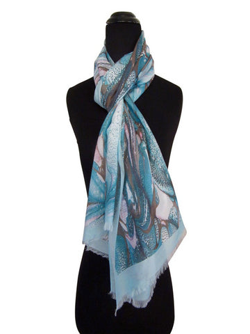 'Aquamarine Life' Cotton & Silk Scarf/Sash with Fringed Ends