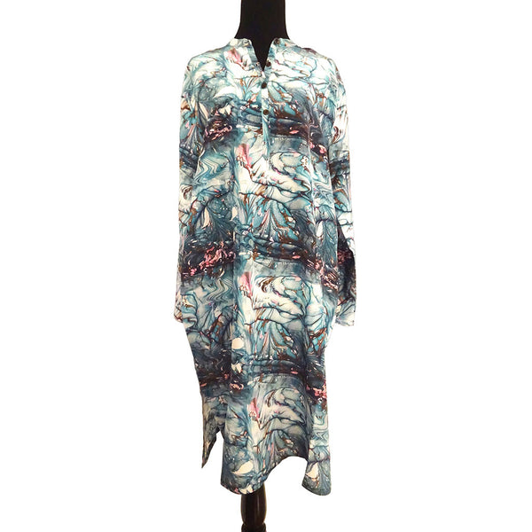 'Aquamarine Life' Tunic 100% Silk