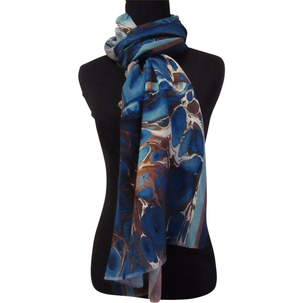 'Bird's Eye Blue' Cashmere Scarf with Fringed Edges
