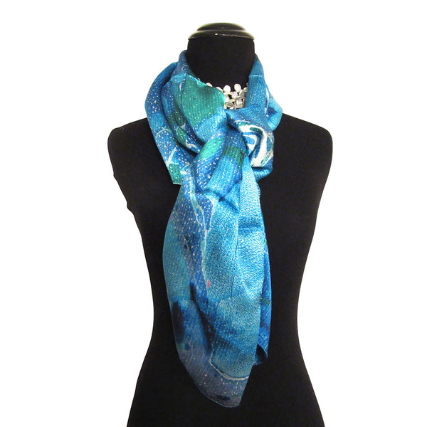 'Blue Lagoon' Blue, Green Silk Satin Scarf