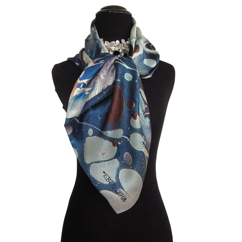 'Blue Puddles' Silk Satin Scarf