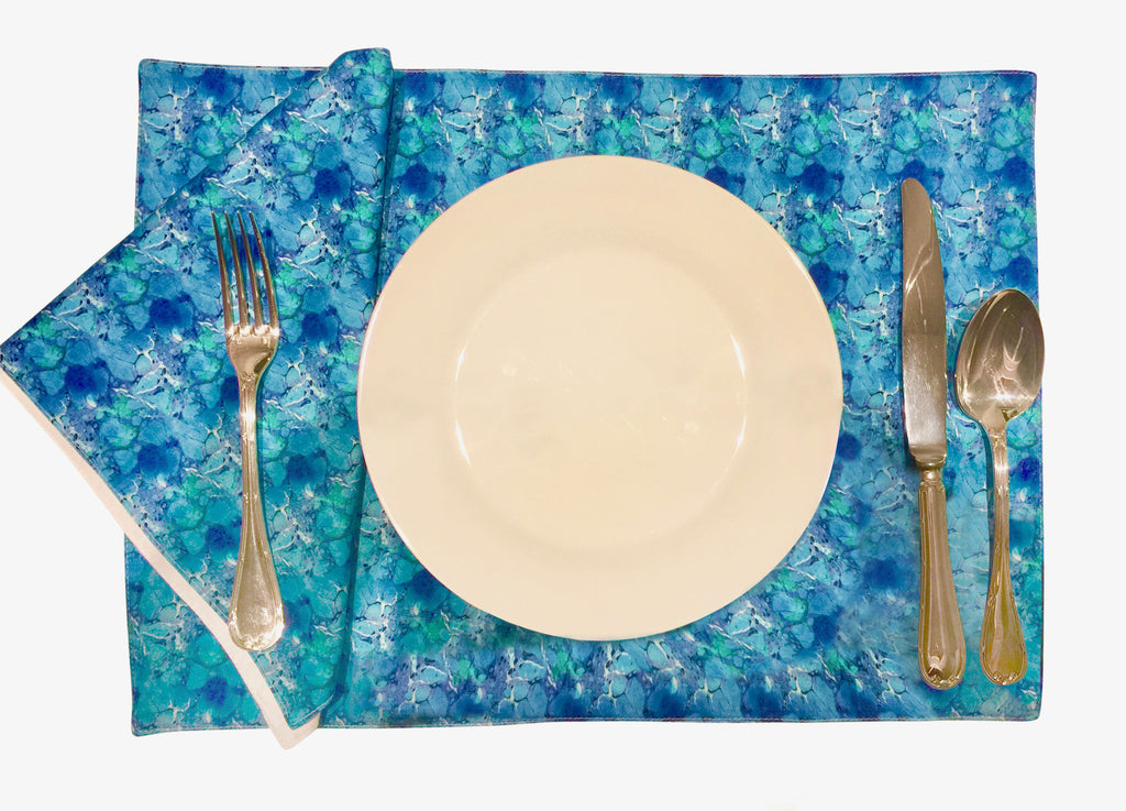 'Blue Lagoon' Placemat and Napkin Set