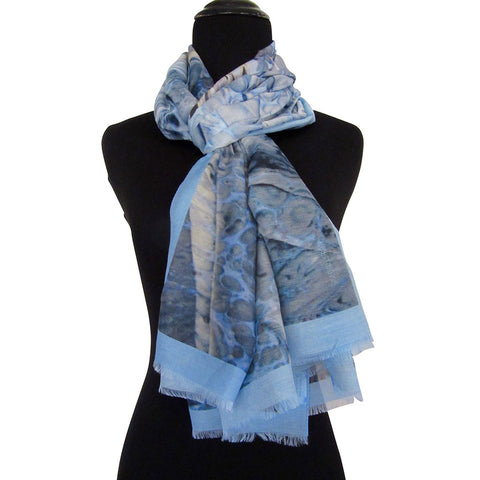 'Bosphorus' Cotton/Silk Scarf/Sash with Fringed Ends