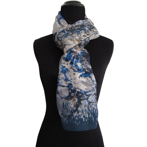'Bosphorus in Dark Blue' Cashmere Scarf