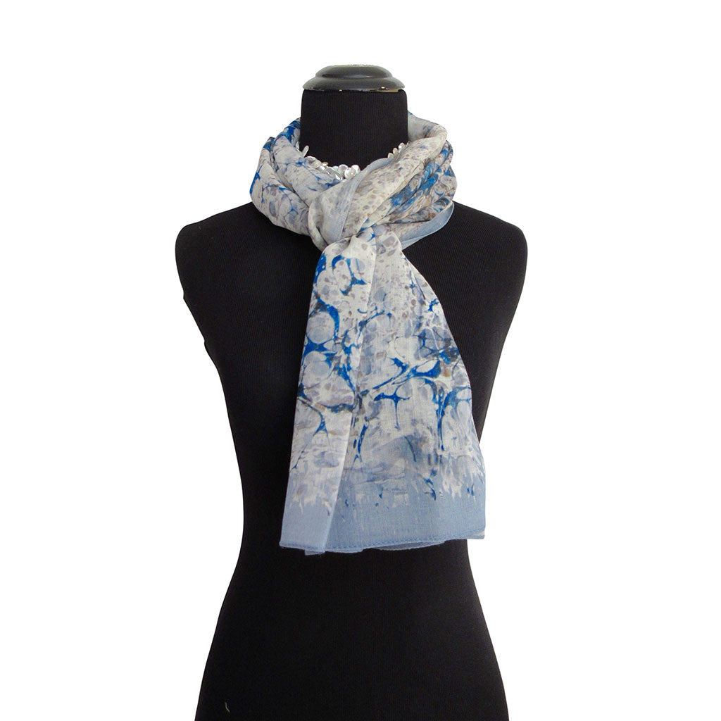 'Bosphorus in Light Blue' Cashmere Scarf