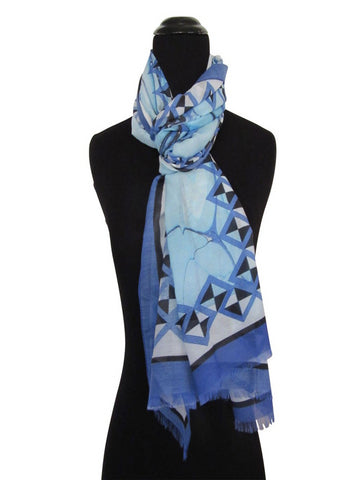 'Capri Sea' with Geometric Border Cotton & Silk Scarf/Sash with Fringed ends