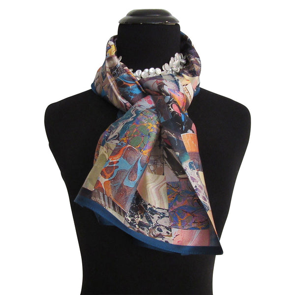 'Ebru Checkerboard' Multi-Color Silk Satin Scarf