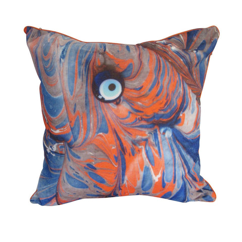 'Blue Orange Evil Eye' Microfiber Pillow Cover