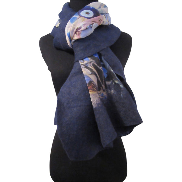 'Evil Eye' Silk/Wool Felt Wrap, Shawl, Scarf