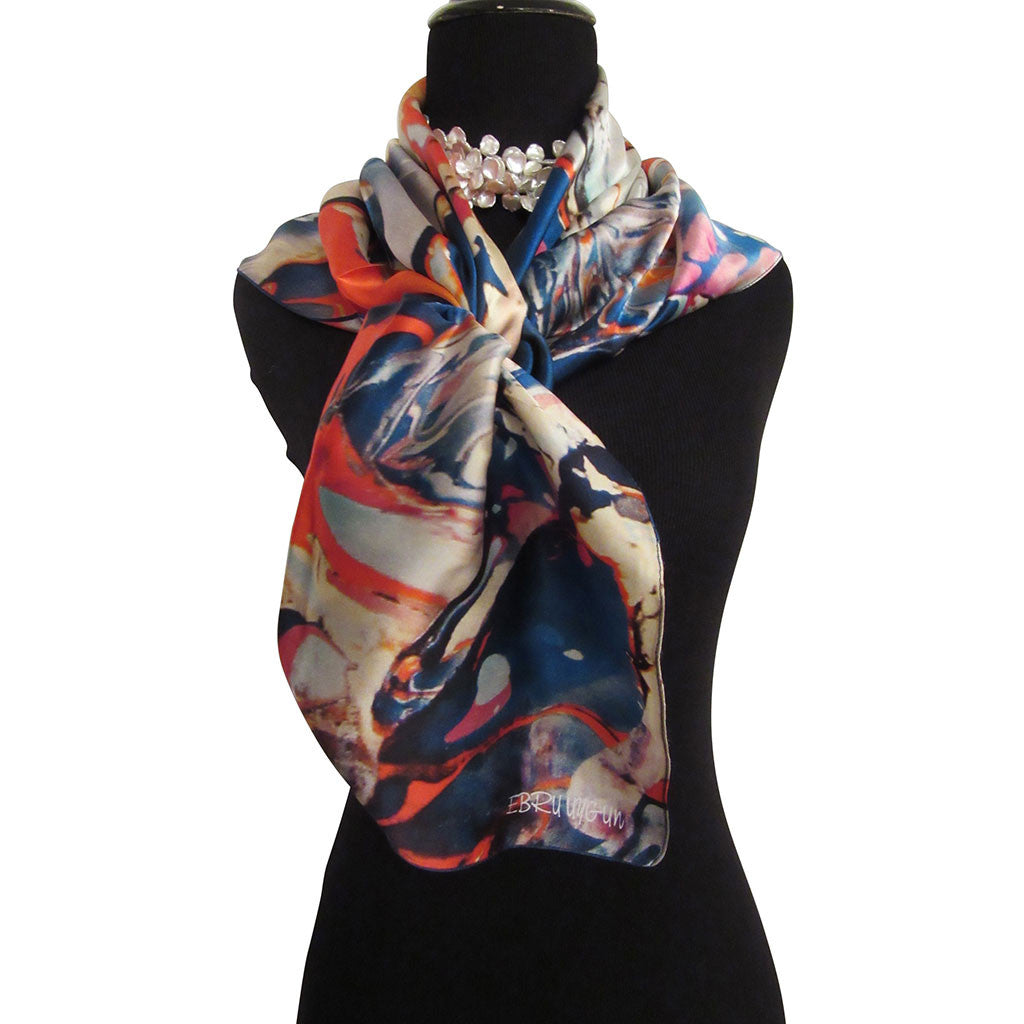 'Fire Water' Silk Satin Scarf