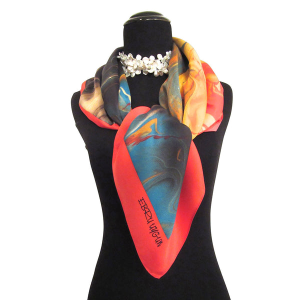 'Fire on The Mountain' Silk Twill Scarf