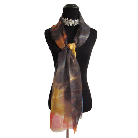 'Fire on The Mountain' Silk Voile Scarf