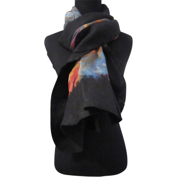 'Fire on The Mountain' Silk/Wool Felt Wrap, Shawl, Scarf