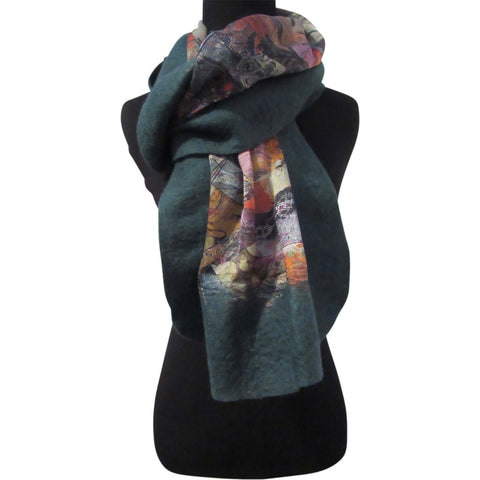 'Green Fragments' Silk/Wool Felt Wrap, Shawl, Scarf