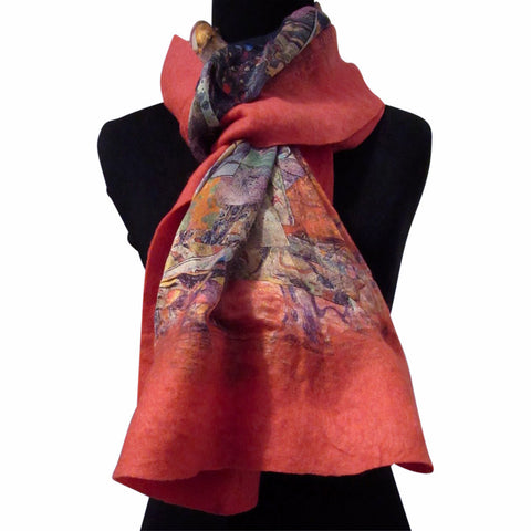 'Red Fragments' Silk/Wool Felt Wrap, Shawl, Scarf