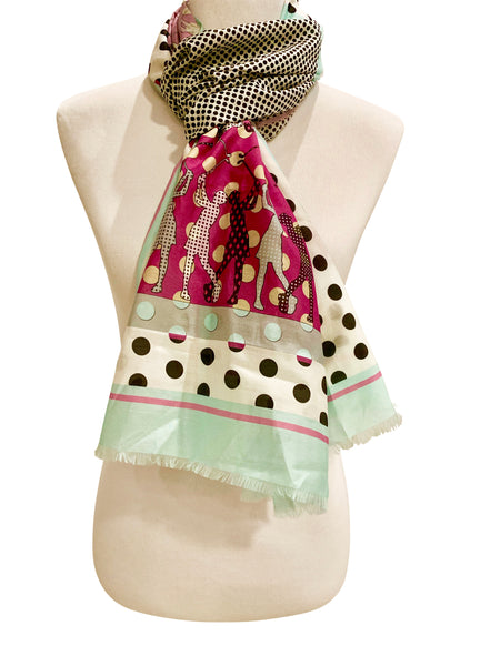 'Golfers Scarf in Raspberry with Turquoise'
