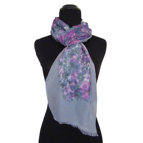 'Majestic Magenta' Cotton & Silk Scarf/Sash with Fringed ends