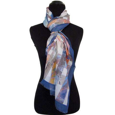'Marble Latticework' Cotton & Silk Scarf with Blue Border with Fringed ends