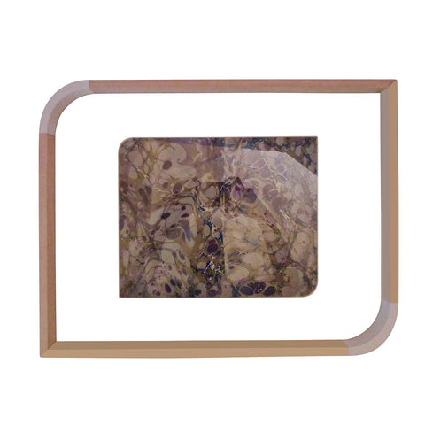 'Olive Purple Marbling' Decorative Tray with Glass Top