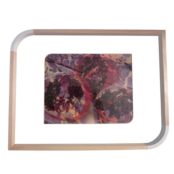 'Purple Pomegranate II' Decorative Tray with Glass Top