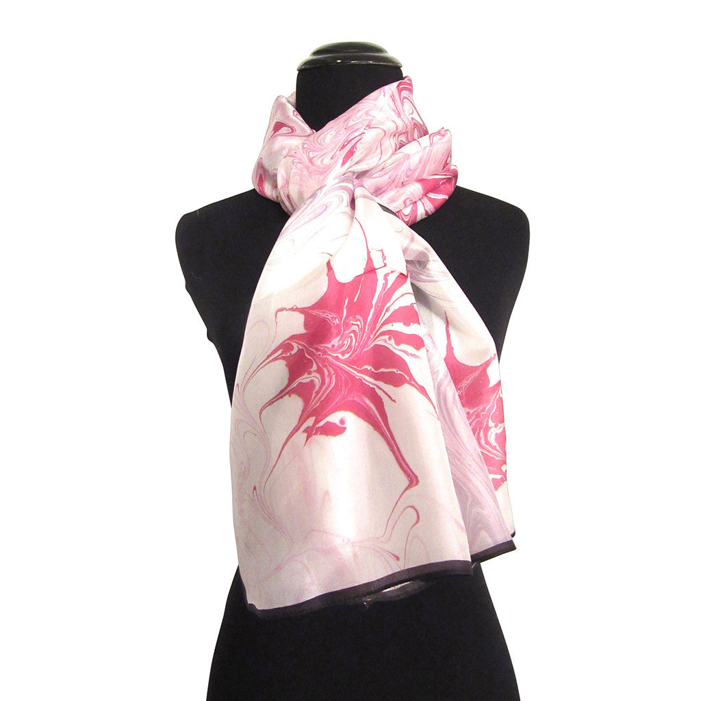 'Raspberry Swirl' Silk Voile Scarf/Sash with Black Border