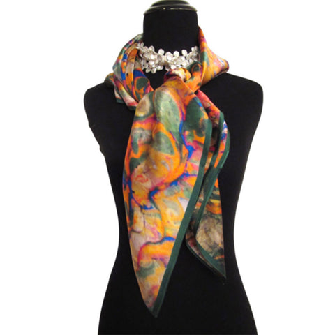 'Orange Grove' Silk Satin Scarf