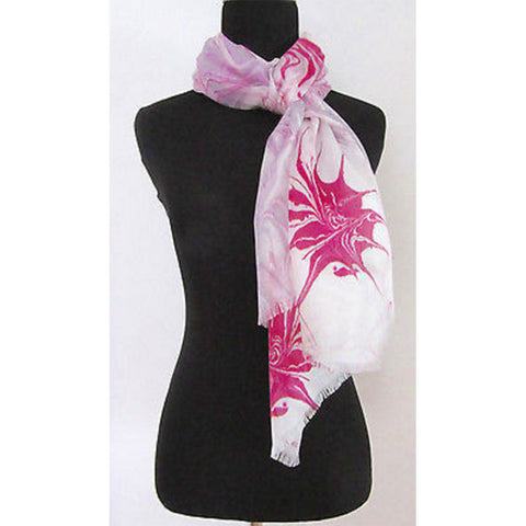 'Raspberry Swirl' 100% Silk Voile Scarf with Grey Border