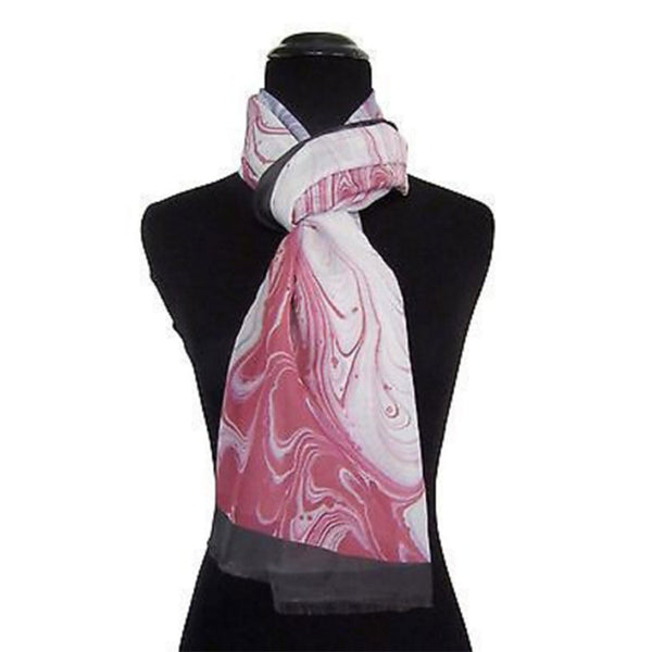 'Raspberry Swirl' Cotton & Silk Scarf/Sash with Fringed ends