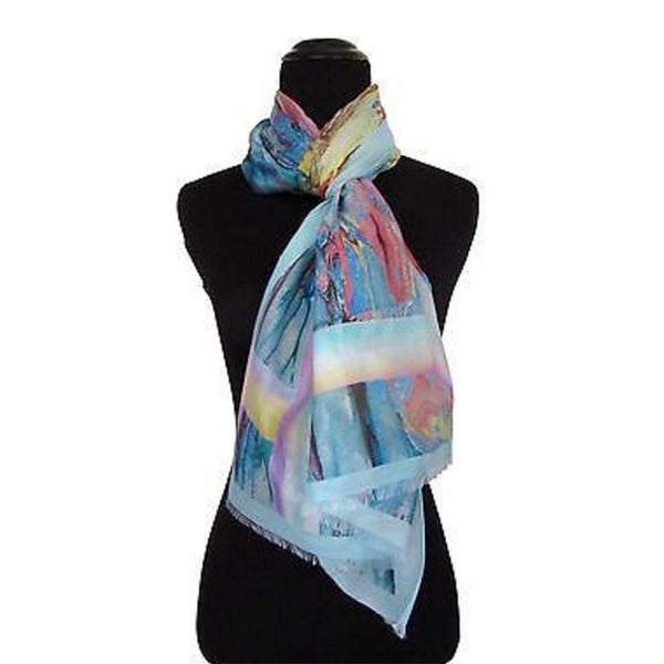'Watercolor Pastel' Cotton & Silk Scarf/Sash with Fringed Ends