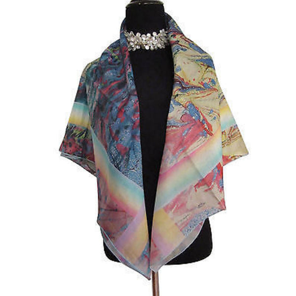 'Watercolor with Pastel' Silk Twill Scarf