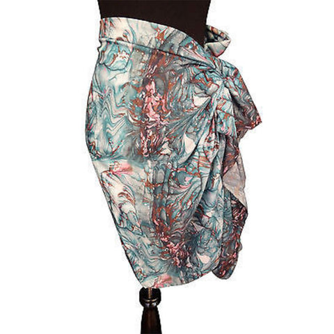 'Aquamarine Life' Cotton Pareo/Sarong