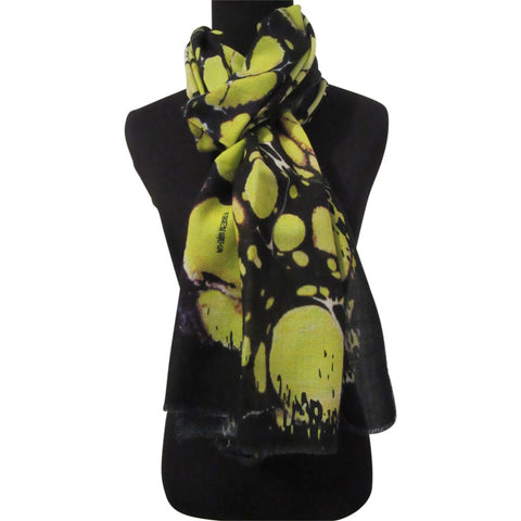 'Lilypad in Chartreuse' Cashmere Scarf