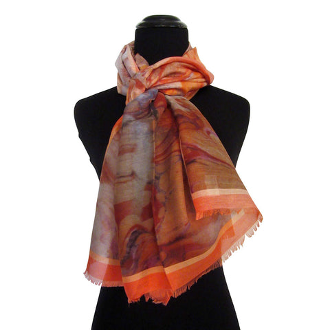'Tangerine Dream' Cotton & Silk Scarf/Sash with Fringed Ends