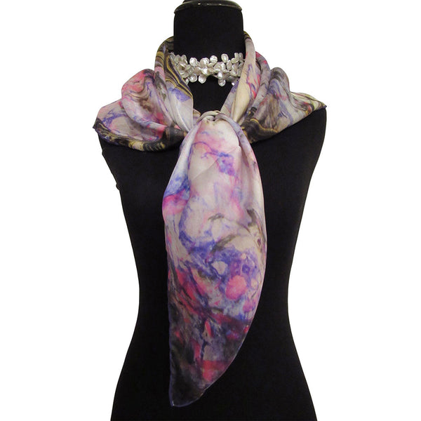 'Watercolor Marbling' Silk Satin Scarf