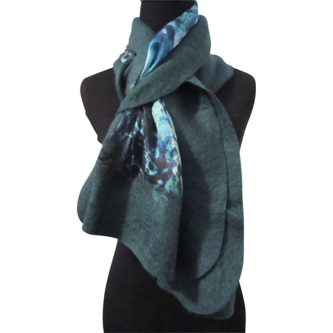 'Waterlily' Silk/Wool Felt Wrap, Shawl, Scarf