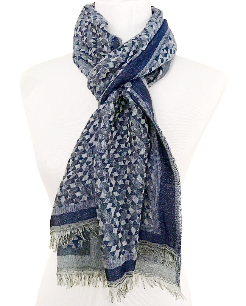 'Fragmentini' Cotton/Silk Scarf in Denim