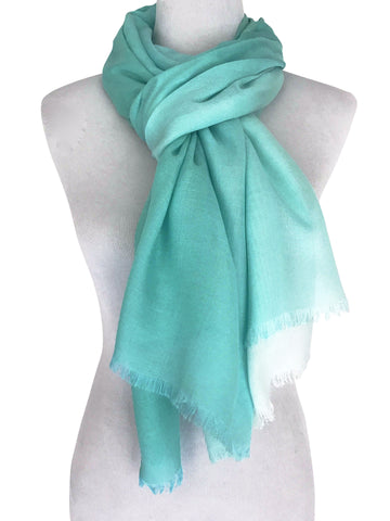 'Spearmint Ombre' Cotton/Silk Scarf