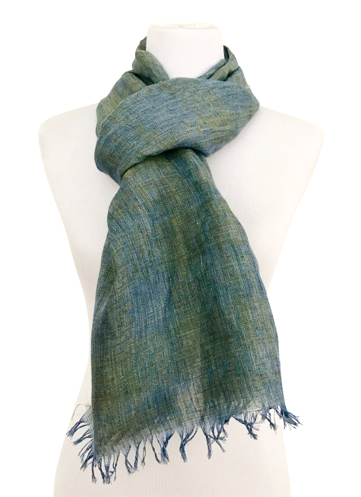 'Houndstooth' Seagreen & Blue Cotton/Linen Scarf