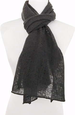 'Spiderweb' in Black Wool/Silk Scarf