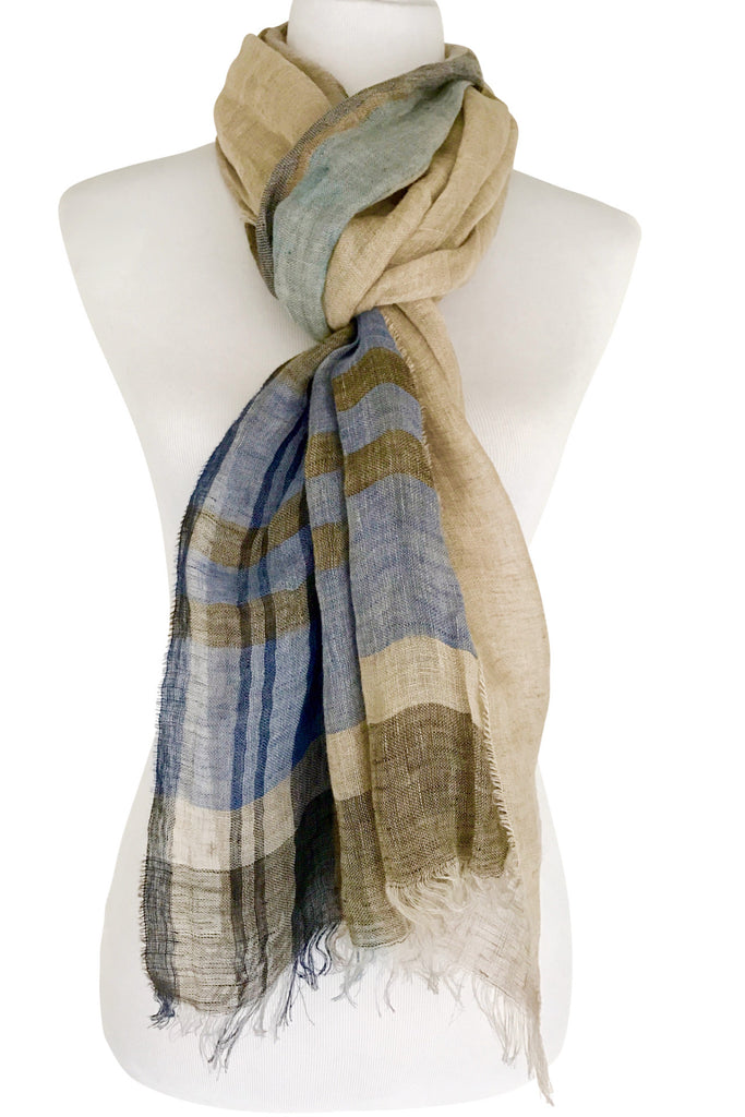 'Roundabout' in Sand Linen Scarf