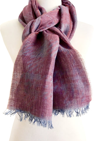'Houndstooth' Garnet & Denim Cotton/Linen Scarf