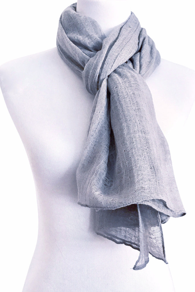 'Spiderweb' in Grey Wool/Silk Scarf