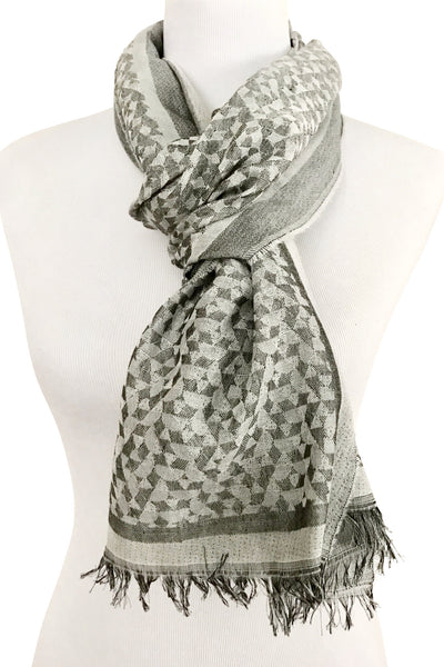 'Fragmentini' Cotton/Silk Scarf in Silver