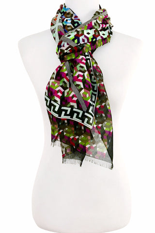 'Geometrix' Cotton/Silk Scarf