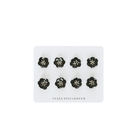 Sequin Flower Stickers in Black