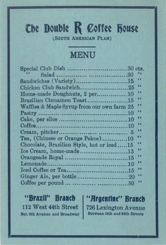 Double R Coffee House Menu - Republican Coffee