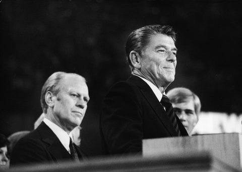 Ronald Reagan and Ford in the last convention floor battle; Republican Coffee