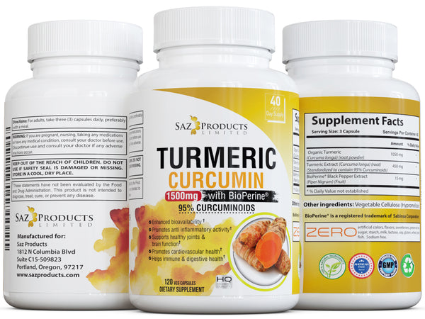 Turmeric Curcumin Capsules with Bioperine – Joint Support & Pain Relief - 120 Veggie Capsules, Made in USA