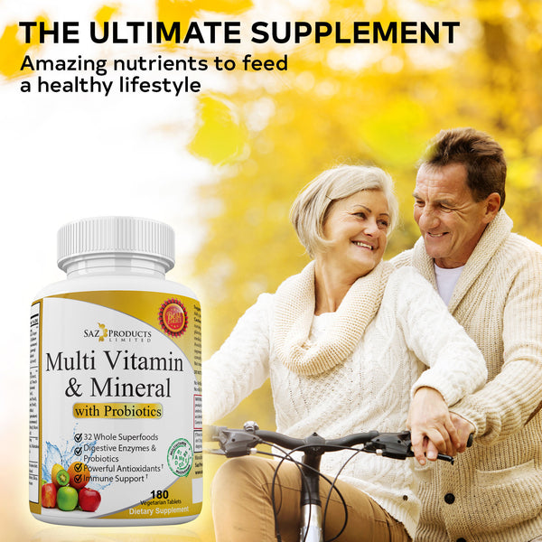 Whole Food Multivitamin and Mineral with Probiotic - 180 Tablets