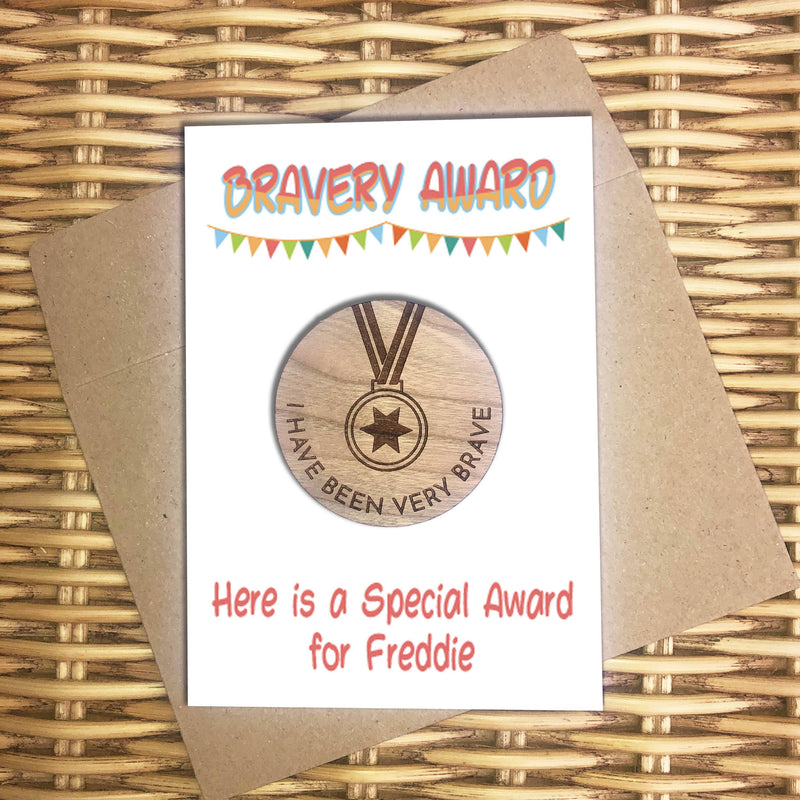 Award - Personalised Wooden Bravery Merit Award - Bunting
